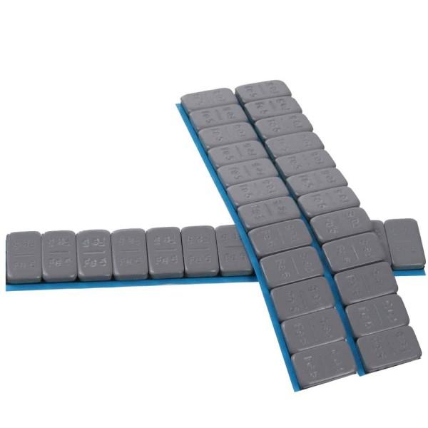 Klebegewicht Riegel 5/5 - 100 Riegel a 60 Gramm doppelt beschichtet silber mit Abrisskante